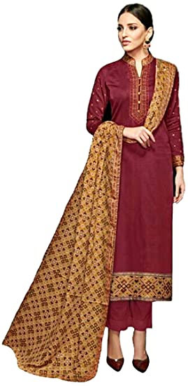 1c214db23f Eaa Collection Women's Unstitched Pakistani dress material/Salwar Suit  (Claret Violet)