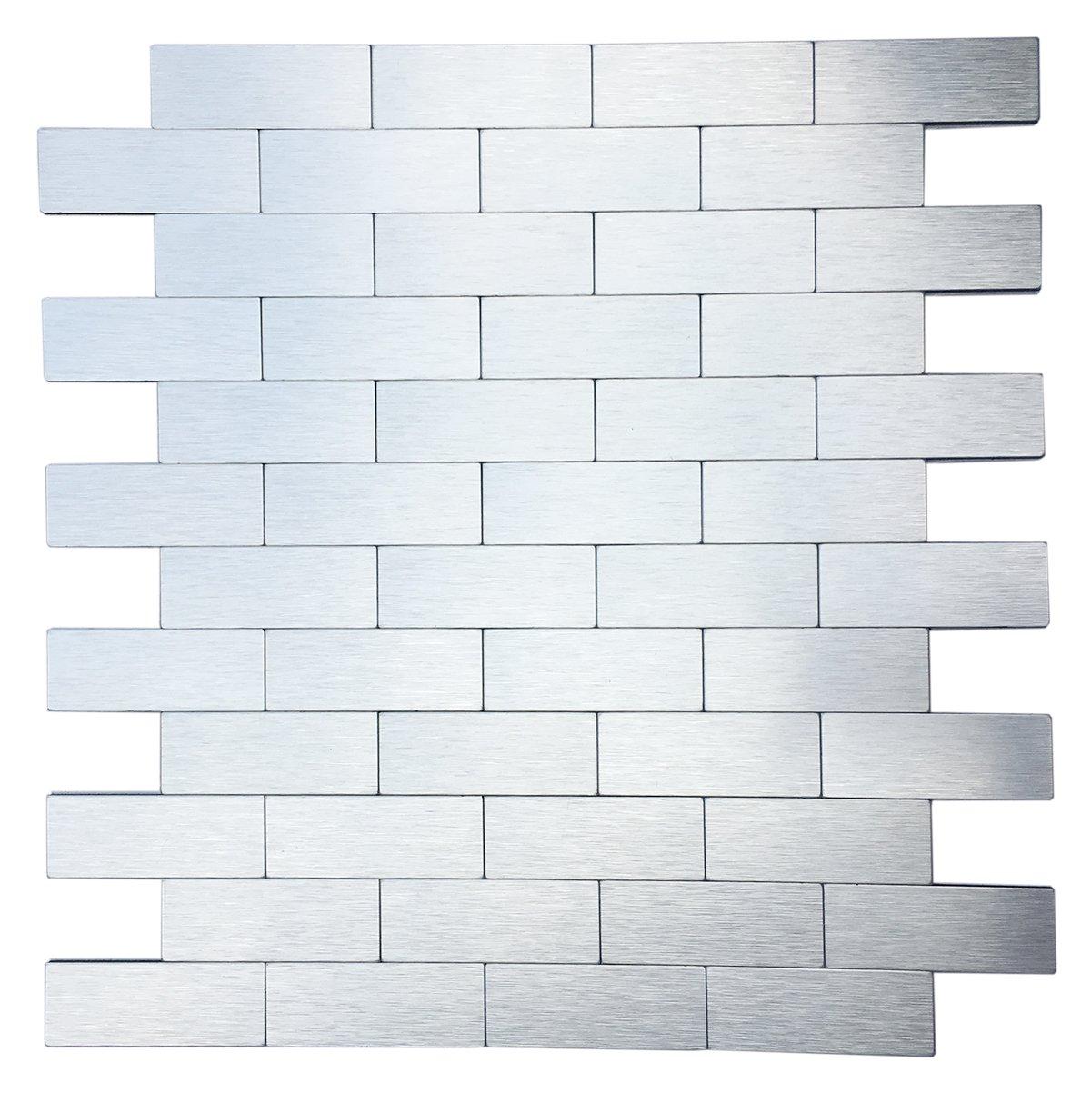 Art3d Peel And Stick Metal Backsplash Tile For Kitchen / Bathroom, Brush  Silver Alumimium     Amazon.com