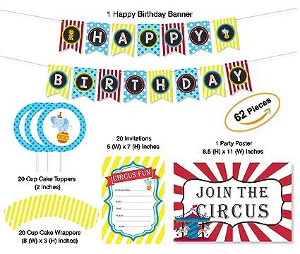 amazon com happy birthday banner circus circus theme birthday