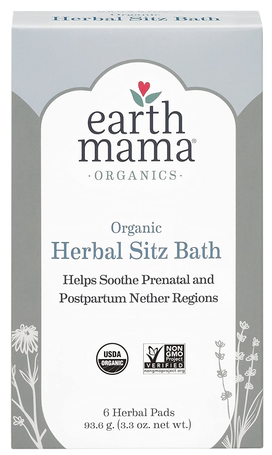 Earth Mama Postpartum Bath Herbs Pads Pack of 6 Earth Mama Angel Baby 10-286