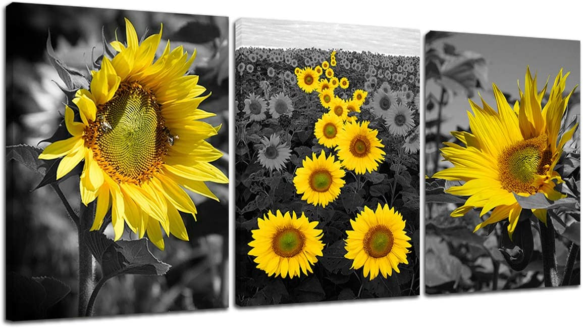 Sunflower Painting Canvas Wall Art - Bee Yellow Flower Art Picture on Canvas Black and White Scenery Pictures 3 Panel Wall Art Home Office Decor Kitchen Bathroom Teen Girls Room 12x16inch Framed