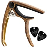 Guitar Capo by Hiveseen, for 6/12 String, One Hand Quick Release, Zinc Alloy, Wooden Color, with Bridge Pin Puller and 2 Guitar Picks, Fret Clamp for Acoustic/Classical/Electric Bass Guitar Ukulele