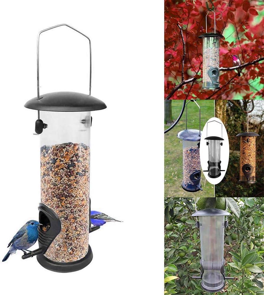 TopHGC Comedero para pájaros, comedero para pájaros Colgando Alimentador de Semillas para Trabajo Pesado Estuche Transparente de Metal Resistente al Agua para pájaros