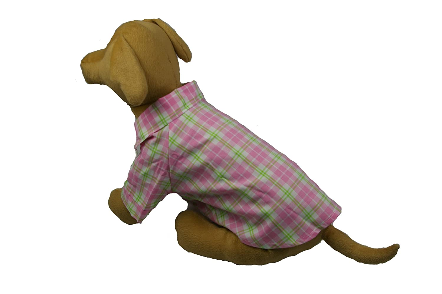 PET LIFE 'Woven Fashion' Buttoned Designer Plaid Pet Dog Woven T-Shirt, X-Small, Light Pink Plaid