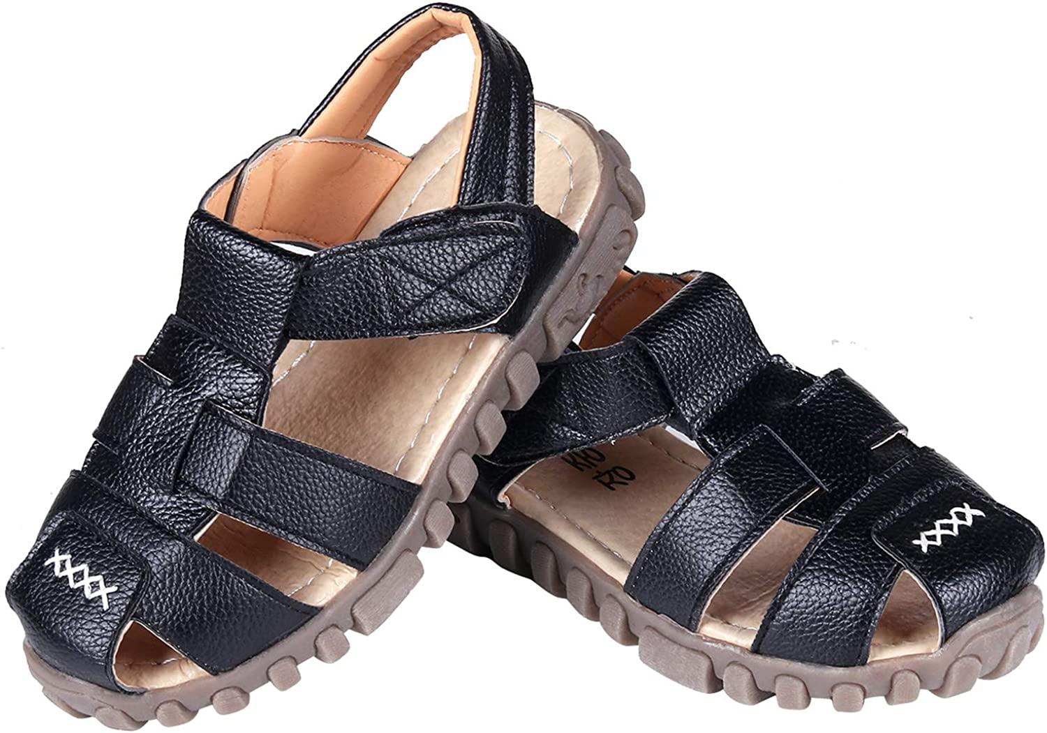 32 Black Kids Leather Closed Toe Sandals Boys Girls Outdoor Flat Shoes Breathable Sport Sandals Toddler//Little Kid//Big Kid