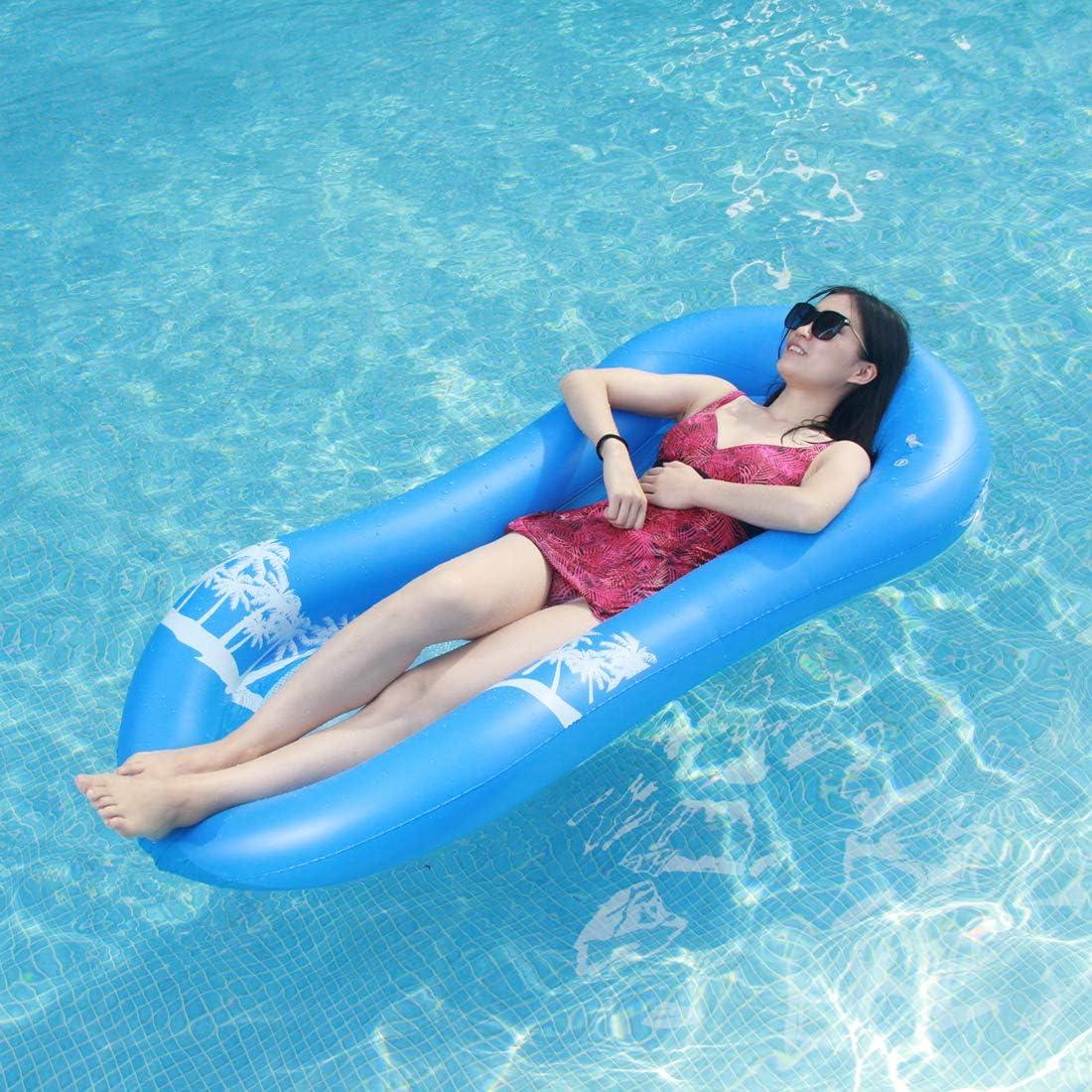 Myir Hamaca Flotante para Piscina, Cama de Agua Flotador de Malla Tumbona Inflable del Agua Hinchable Colchón de Aire Adultos (Hamaca Flotante Azul)