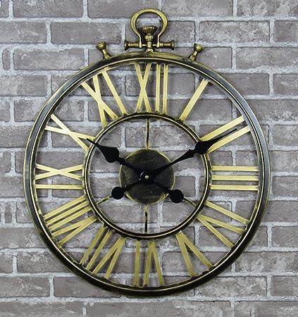 CAIJUN Mudo Reloj de Pared Metal Reloj de Bolsillo Retro Colgar en la Pared Hierro Relojes