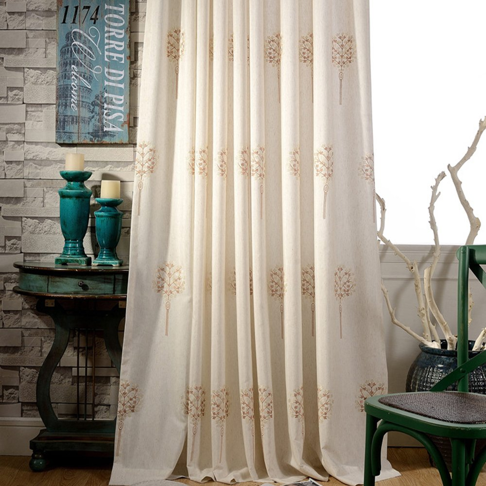 Anady Top Blackout Curtains Cotton Linen Drapes Grommet 2 Panel Light Brown and Ivory Flower Curtains Drapes for Bedroom 72 inch Wide (Customized Available)