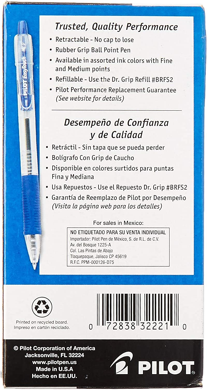Dozen Blue Ink Medium Pilot Easytouch Ballpoint Retractable Pen
