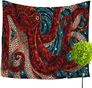 LvBo Psychedelic Decor Tapestry, Whales with Sea Animal Decor Beach Towel, Wall Hanging for Bedroom Living Room Dorm 59''X51'' (59'' x 51'', Red Octopous)