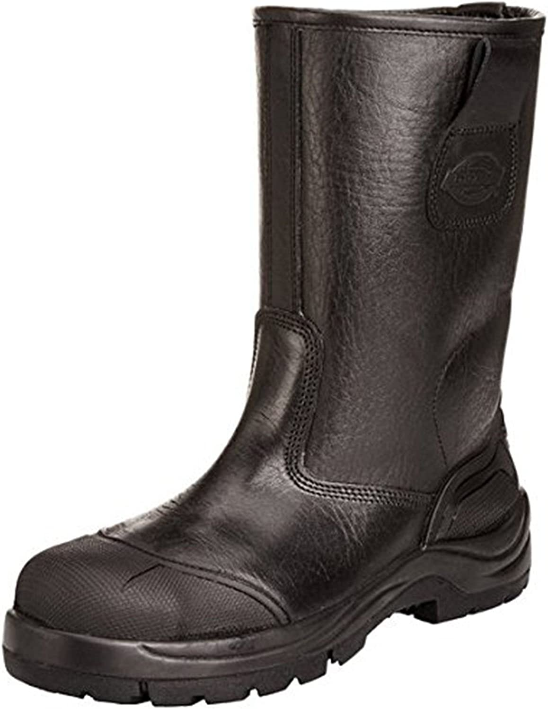 Dickies Mens Super Safety Rigger Boot Plus Lined Work Leather Steel Toe-Cap Steel /& Midsole Scuff Cap /& Heel Water Resistant Coweta FD9211B Black UK 5-12