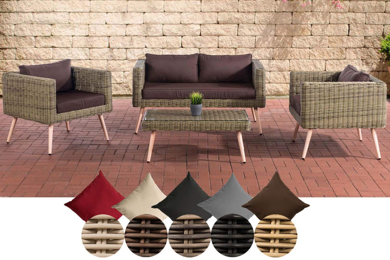 CLP Polyrattan Loungeset MOLDE 2-1-1 I Natura I Gartenlounge Rundrattan I Sofa + 2X Sessel + Glastisch I 5mm Rattandicke 40 cm (Hellbraun), terrabraun