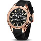 MEGIR Men's Analogue Chronograph Luminous Quartz Watch with Silicone Band Calendar Fashion Gift for Sport & Business…