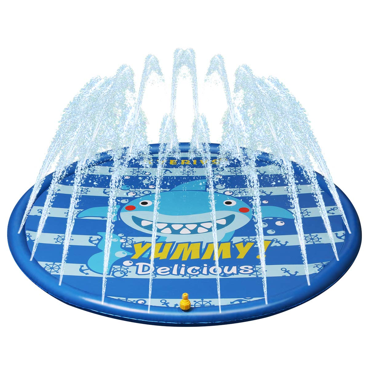 Kyerivs Sprinkle and Splash Play Mat for Kids,Boys and Girls Water Toys 60inch Perfect Backyard Activity Play Outdoor Sprinkler pad Great Summer Fun Durable Quality Splash Mat Diameter 150cm Diameter