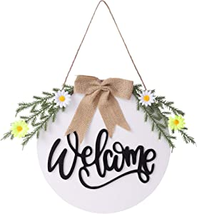 Artmotree Welcome Sign for Porch Front Door Decor with Seasonal Interchangeable, Outdoor Rustic Farmhouse Hanging Welcome Wreath Sign for Christmas Valentines Home Decorations 12 Inch White