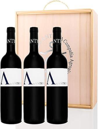 A de ANTIGVA - 3 Vino tinto joven Tempranillo - I.G.P. Tierra de Castilla - Estuche madera 3 botellas 75 cl: Amazon.es: Alimentación y bebidas