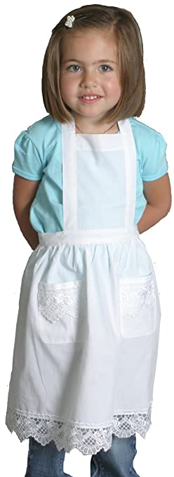 Victorian Kids Costumes & Shoes- Girls, Boys, Baby, Toddler White Full Apron With Lace Girls 4 to 8 $22.99 AT vintagedancer.com