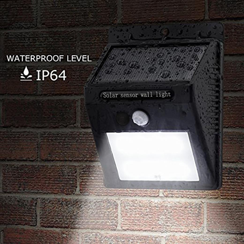 YRD TECH 20 LED Solar Power PIR Motion Sensor Wall Light Outdoor Garden Waterproof Lamp (Black)