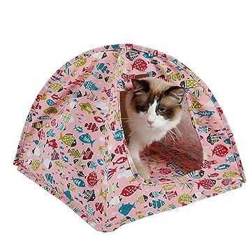S-Lifeeling - Alfombrilla de cojín acolchada para gato, diseño de peces, lona