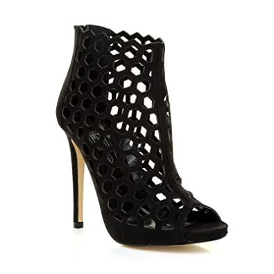 937429c5ad563 Lamar Black Faux Suede Caged Honeycomb Peep-Toe High Heel Ankle Boots Size  UK 8