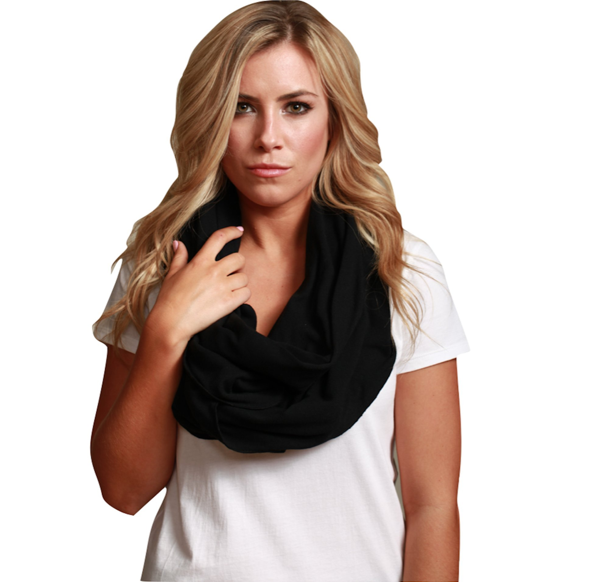 Sleeper Scarf 2-in-1 Travel Scarf and Inflatable Neck Pillow (Black, Traditional Inflate)