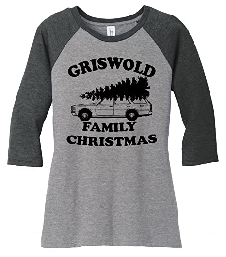 6ca958385 Amazon.com: Comical Shirt Ladies Griswold Family Christmas Funny Xmas  Holiday 3/4 Raglan: Clothing
