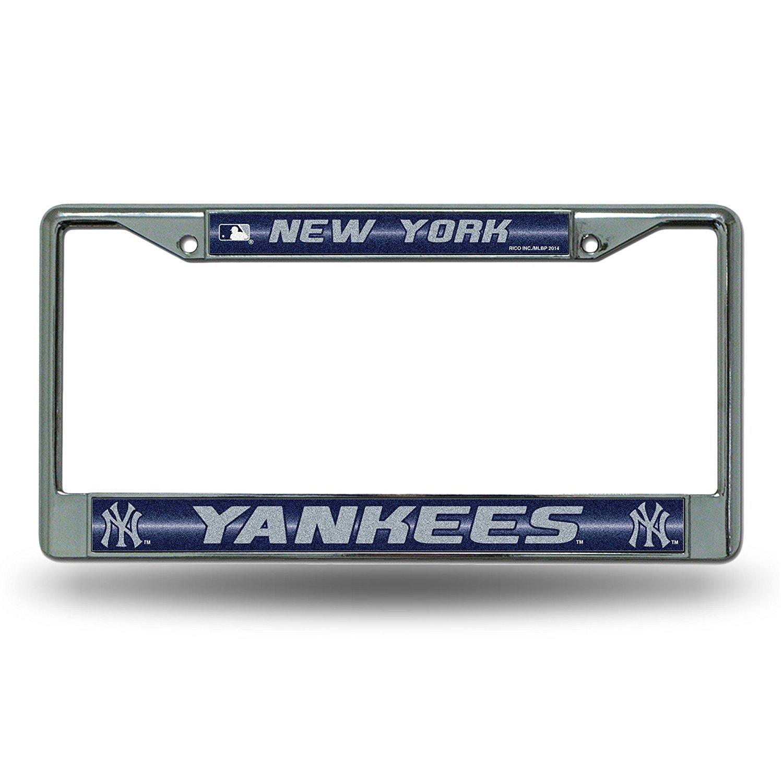 Rico Industries New York Yankees MLB Glitter Bling Chrome Plate Frame /& Yankees Number One Fan License Plate