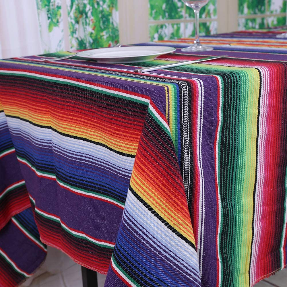 TRLYC 145X260cm Purple Mexican Rectangular Tablecloth Mexican Party Decoration Cotton Table Cloth Blanket Fiesta Themed Decorations