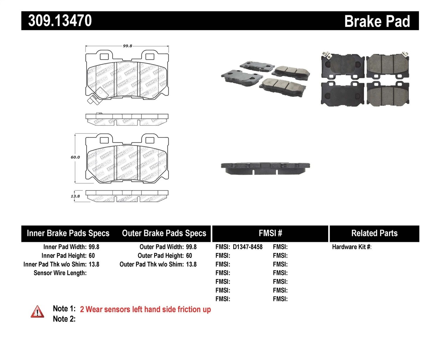 Both Left and Right Stirling Semi Metallic Brake Pads with 2 Years Manufacturer Warranty 2001 For Ford F-150 Rear Set