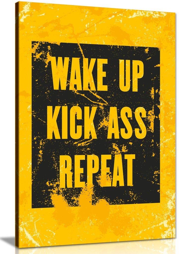 Inspirierende Motivation Zitat Wake Up Kick Ass Bild auf Leinwand print, A0 91x61cm (36x24in)