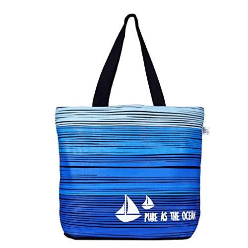 EcoRight Reusable 100% Jute Cotton EcoFriendly Large Tote Bag Printed