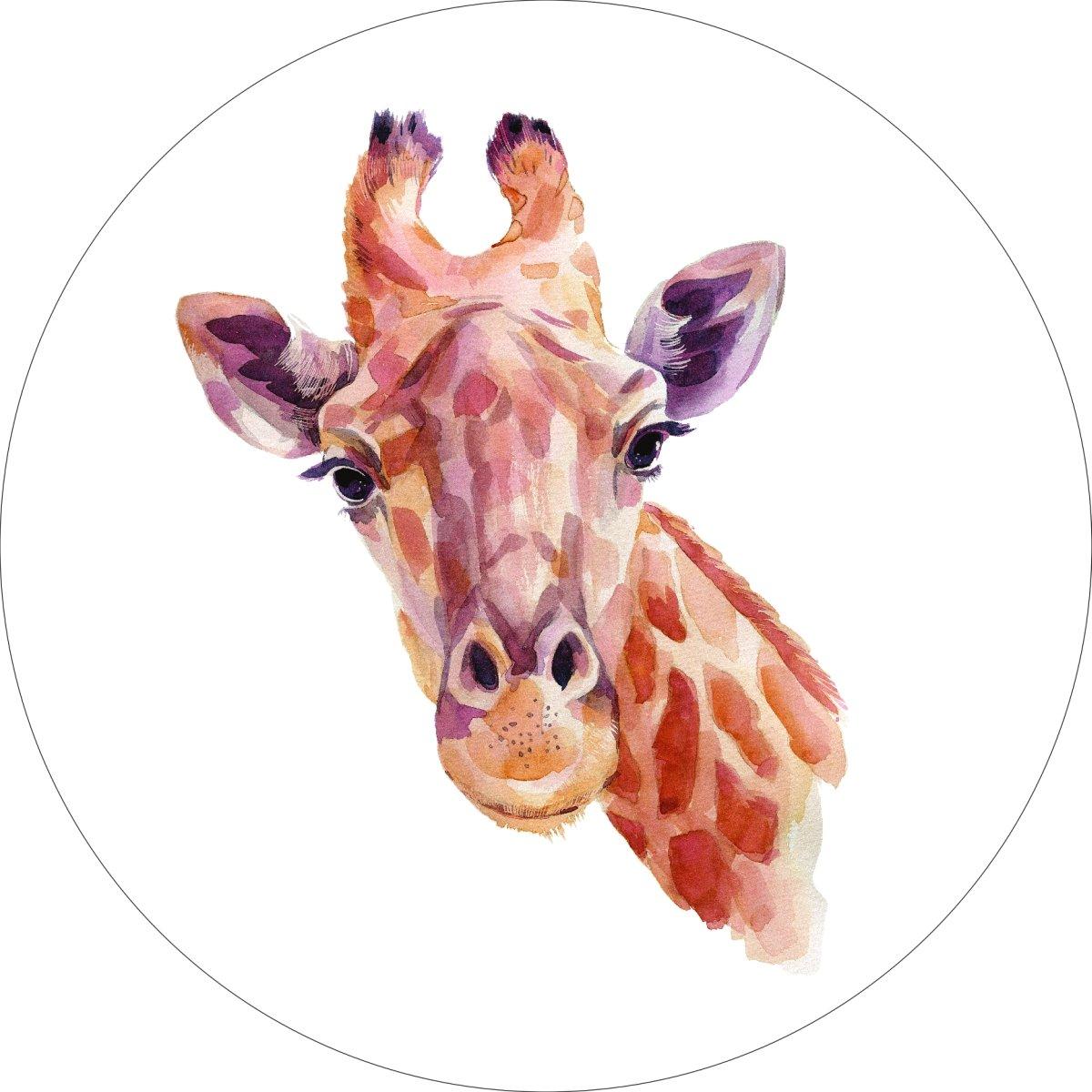 Giraffe Home Wall Shelf Decor Animal Decorations Watercolor Round Sign - 18 Inch, Metal