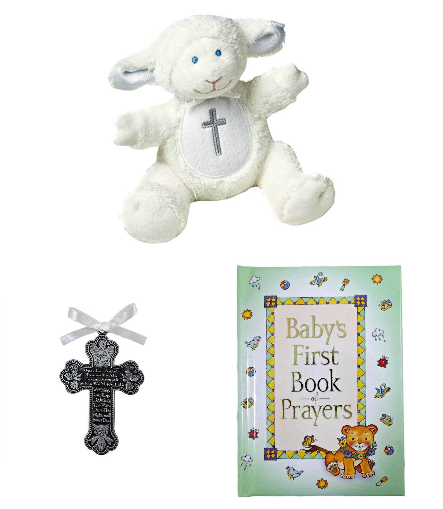 Baby Christening Baptism Gift Set – Pewter Guardian Angel Crib Cross Lamb and Book of Prayers (White_Prayer)