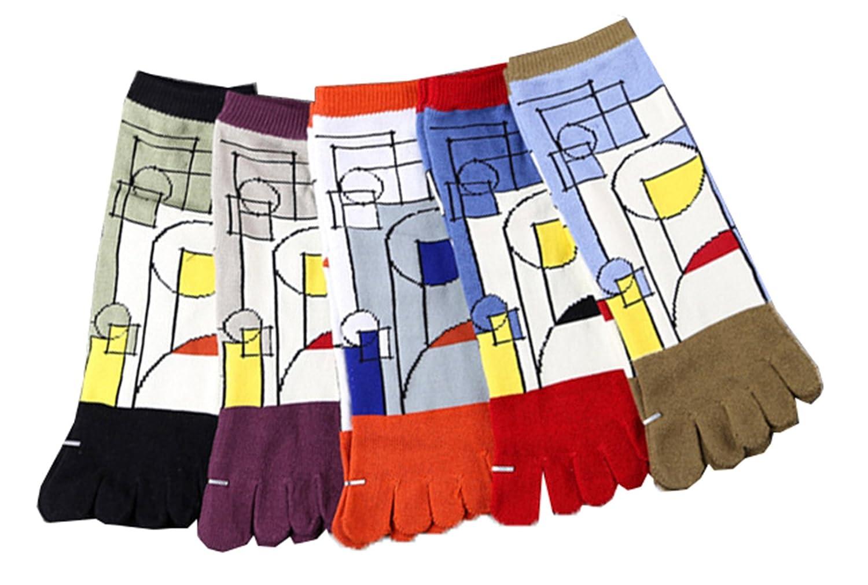 MOHSLEE Mens Geometric Jacquard Toe Socks Five Finger Running Sweat Sock 5 Pack