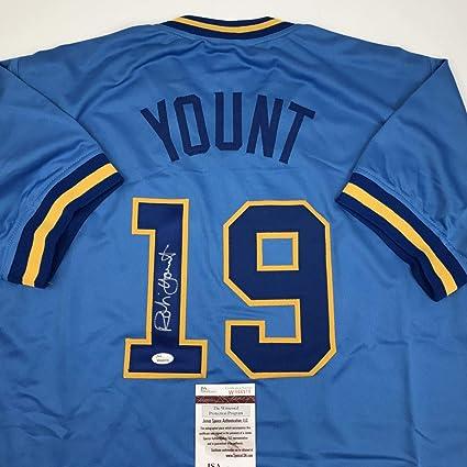 pretty nice 975ba 6cd04 Autographed/Signed Robin Yount Milwaukee Blue Baseball Jersey JSA COA