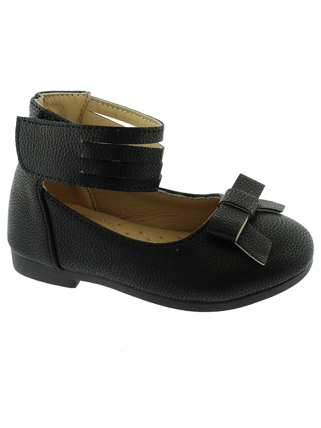 Kate Girls Black Ankle Strap Bow Mary Jane Shoes 11-4 Kids