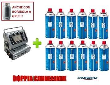 Estufa estufa a gas portátil doble casquillo GPL/Butano + 12 cartucho original Campingaz (): Amazon.es: Jardín