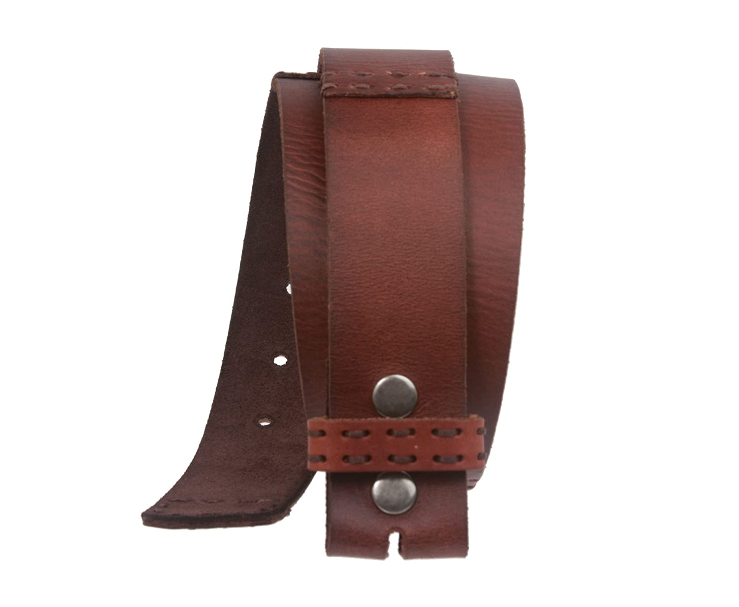 1 1//2 Inch Wide Snap On Oil Tanned Leather Belt Strap