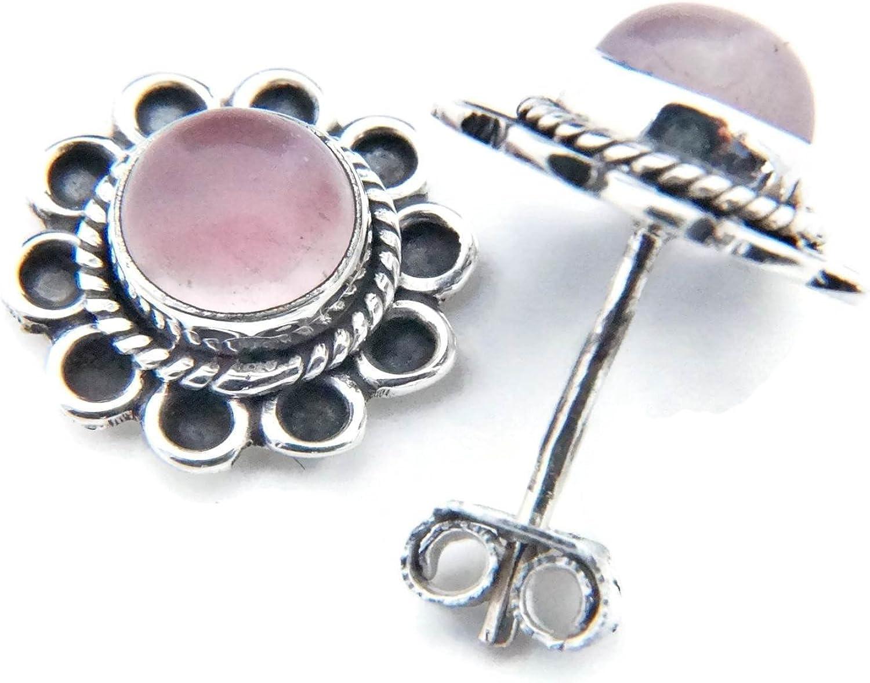 Pendientes de plata 925 con cuarzo rosa 13 mm13 mm (No: MOS 56)