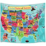 Kids Map of The United States Wall Tapestry, Cartoon Fun Facts Geography USA Map, Polyester Fabric Tapestry, 80 X 60
