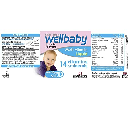 (4 PACK) - Vitabiotics Wellkid Baby & Infant | 150ml | 4 PACK - SUPER SAVER - SAVE MONEY: Amazon.com: Grocery & Gourmet Food