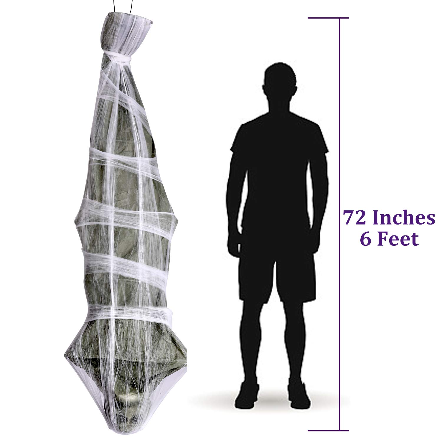 UFUNGA 72 inch Cocoon Corpse Decoration Scary Home Decor for Yard Outdoor Indoor Party Haunted House Halloween Decorations Hanging Ghost