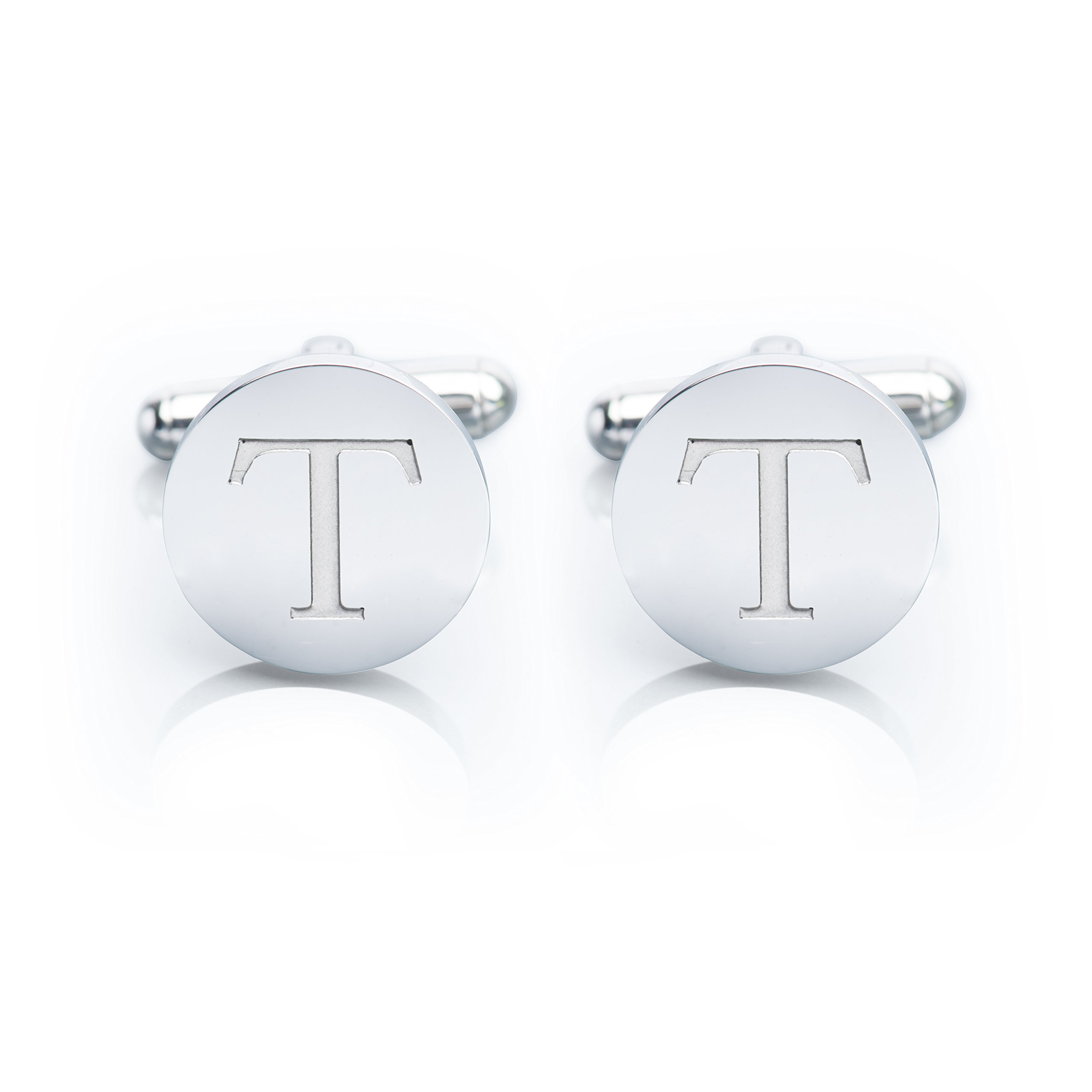 Men's 18K White Gold-Plated Engraved Initial Cufflinks with Gift Box– Premium Quality Personalized Alphabet Letter (T - White Gold) by Iron & Oak (Image #1)