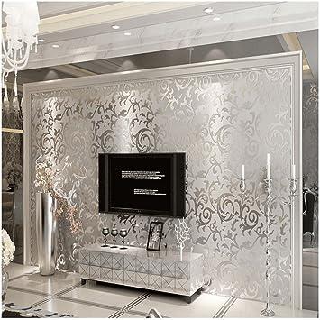 QIHANG Qualitäts-Silber Grau Viktorianischer Damast Geprägte Strukturierter  nichtgewebte Tapete Rolle 0.53m (20,8\