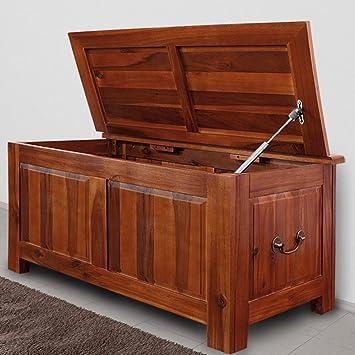 Coffre de rangement style colonial bois exotique 85 cm: Amazon.fr ...