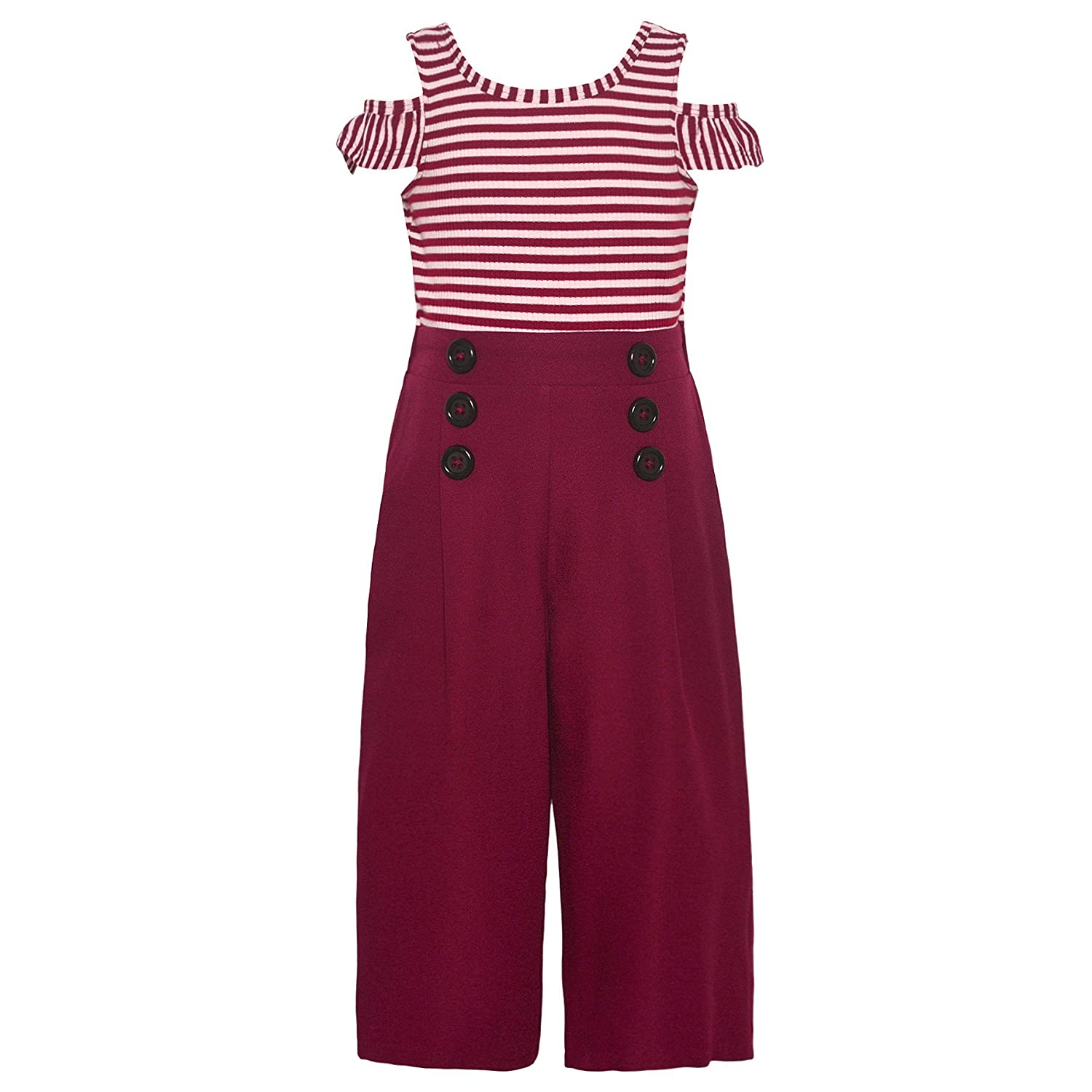Kids 1950s Clothing & Costumes: Girls, Boys, Toddlers Bonnie Jean Little Girls Burgundy Stripe Cold Shoulder Button Romper 4-6X $25.99 AT vintagedancer.com