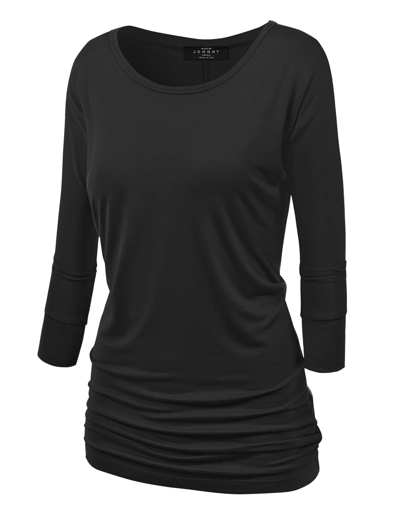 Made By Johnny WT822 Womens 3/4 Sleeve with Drape Top L Black