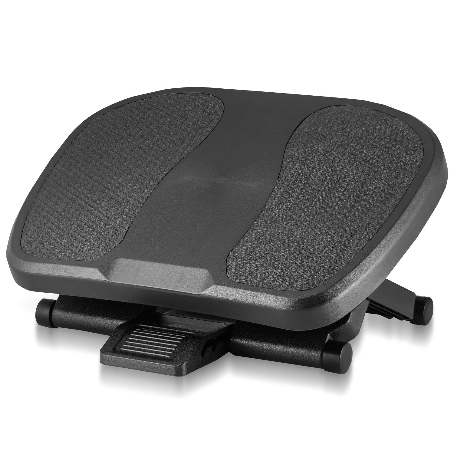 Under Desk Foot Rest, Black Footstool & Office Ergonomic Footrest, Adjustable Angle & 3 Different Height Positions, 17.7'' X 13'' - Great for Home & Work
