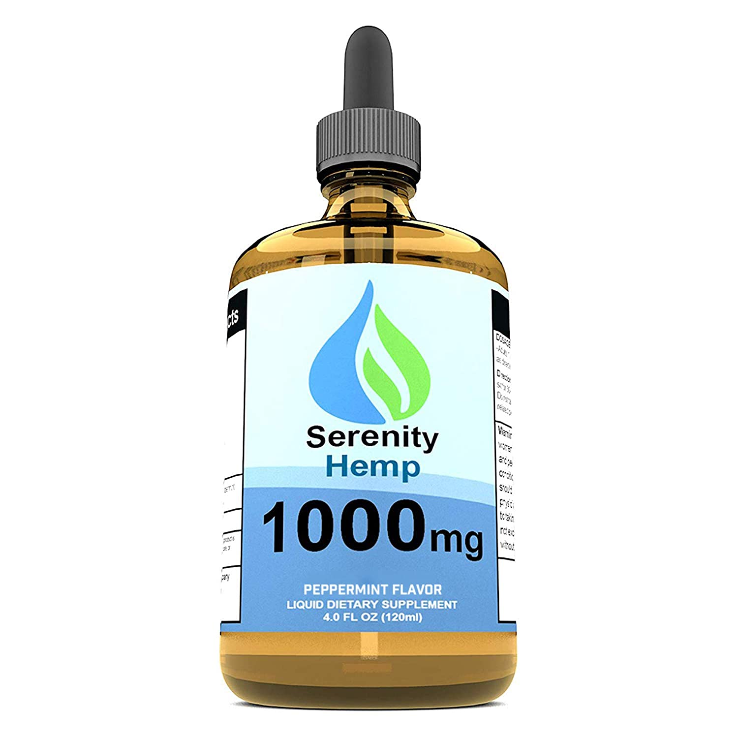 Serenity Hemp Oil - 4 fl oz 1000 mg (Peppermint) - Relief for Stress, Inflammation, Pain, Sleep, Anxiety, Depression, Nausea - Rich in Vitamin E, Vitamin B, Omega 3,6,9 and More!