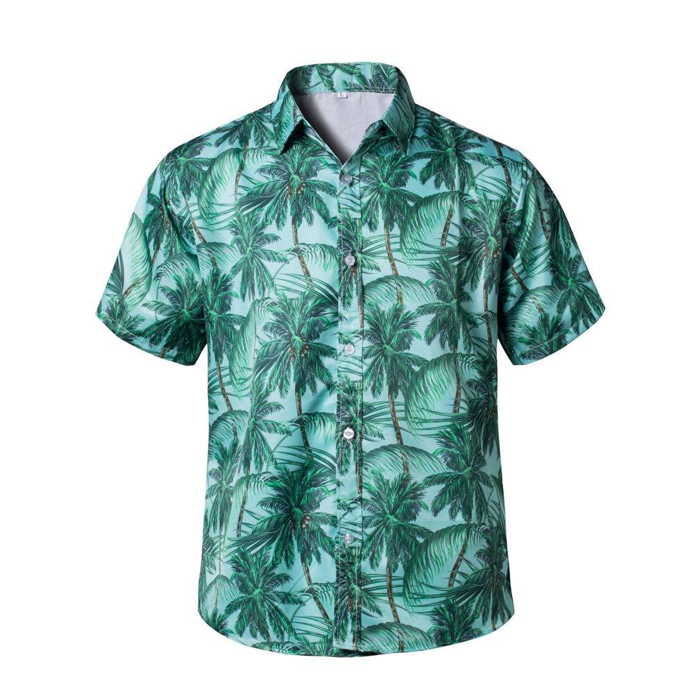 GUJMin Hawaii Short Sleeve Shirt Mens Casual Fashion Loose Print Shirt Beach Shirt